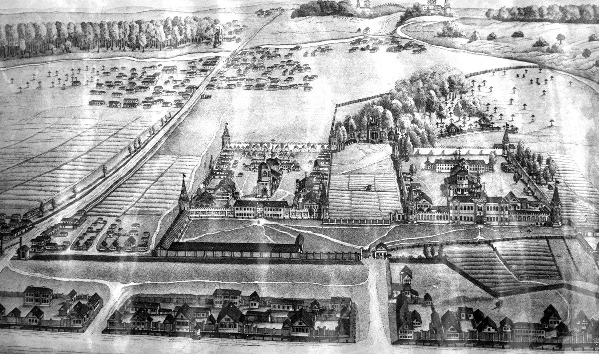 План Преображенского богаделенного дома и окрестностей, 1830-1850е гг.