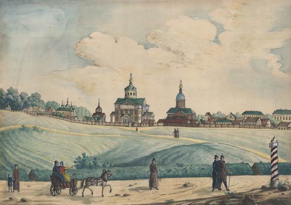 Общий вид Рогожского кладбища, 1830е гг.