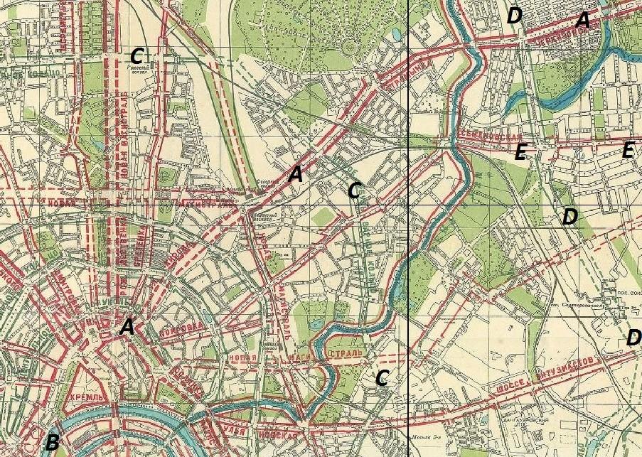 Схема основных магистралей, обводнения и озеленения г. Москвы / Сост. отд. планировки Моссовета в 1935 г.